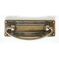 Hi Line HL19.1960.68, 96mm Bail Pull With Backplate, Antique Brass