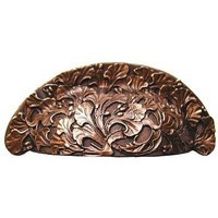 Notting Hill NHBP-802-AC, Florid Leaves Bin Pull in Antique Copper, Floral