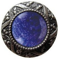 Notting Hill NHK-124-AP-BS, Victorian Jewel Knob in Antique Pewter/Blue Sodalite Natural Stone, Jewel
