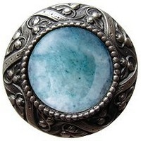 Notting Hill NHK-124-AP-GA, Victorian Jewel Knob in Antique Pewter/Green Aventurine Natural Stone, Jewel