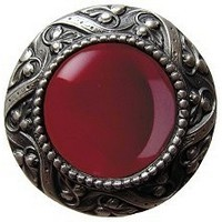 Notting Hill NHK-124-AP-RC, Victorian Jewel Knob in Antique Pewter/Red Carnelian Natural Stone, Jewel