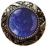 Notting Hill NHK-124-BB-BS, Victorian Jewel Knob in Brite Brass/Blue Sodalite Natural Stone, Jewel