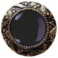 Notting Hill NHK-124-BB-O, Victorian Jewel Knob in Brite Brass/Onyx Natural Stone, Jewel