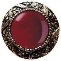 Notting Hill NHK-124-BB-RC, Victorian Jewel Knob in Brite Brass/Red Carnelian Natural Stone, Jewel
