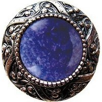 Notting Hill NHK-124-BN-BS, Victorian Jewel Knob in Brite Nickel/Blue Sodalite Natural Stone, Jewel