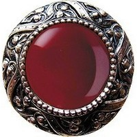 Notting Hill NHK-124-BN-RC, Victorian Jewel Knob in Brite Nickel/Red Carnelian Natural Stone, Jewel
