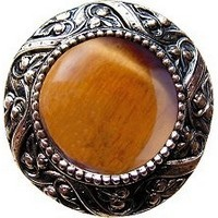 Notting Hill NHK-124-BN-TE, Victorian Jewel Knob in Brite Nickel/Tiger Eye Natural Stone, Jewel