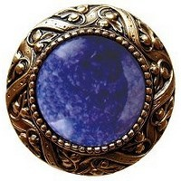 Notting Hill NHK-124-G-BS, Victorian Jewel Knob in Antique 24K Gold/Blue Sodalite Natural Stone, Jewel