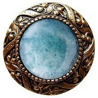 Notting Hill NHK-124-G-GA, Victorian Jewel Knob in Antique 24K Gold/Green Aventurine Natural Stone, Jewel
