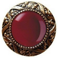 Notting Hill NHK-124-G-RC, Victorian Jewel Knob in Antique 24K Gold/Red Carnelian Natural Stone, Jewel