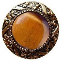 Notting Hill NHK-124-G-TE, Victorian Jewel Knob in Antique 24K Gold/Tiger Eye Natural Stone, Jewel