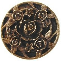Notting Hill NHK-126-AB, Saratoga Rose Knob in Antique Brass, Floral