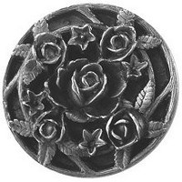 Notting Hill NHK-126-AP, Saratoga Rose Knob in Antique Pewter, Floral