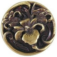 Notting Hill NHK-128-AB, River Irises Knob in Antique Brass, Floral