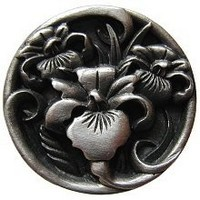 Notting Hill NHK-128-AP, River Irises Knob in Antique Pewter, Floral