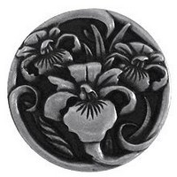 Notting Hill NHK-128-BP, River Irises Knob in Brilliant Pewter , Floral