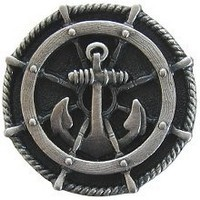 Notting Hill NHK-135-AP, Ship's Wheel Knob in Antique Pewter, Tropical