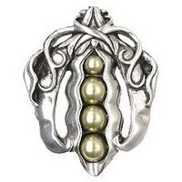 Notting Hill NHK-150-BP, Pearly Peapod Knob in Brilliant Pewter , Kitchen Garden