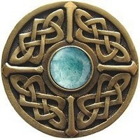 Notting Hill NHK-158-AB-GA, Celtic Jewel Knob in Antique Brass/Green Aventurine Natural Stone, Jewel