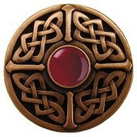 Notting Hill NHK-158-AC-RC, Celtic Jewel Knob in Antique Copper/Red Carnelian Natural Stone, Jewel