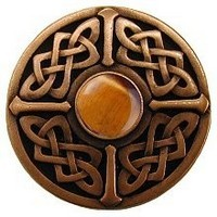 Notting Hill NHK-158-AC-TE, Celtic Jewel Knob in Antique Copper/Tiger Eye Natural Stone, Jewel