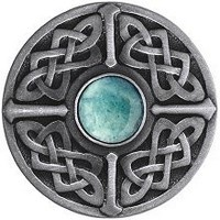 Notting Hill NHK-158-AP-GA, Celtic Jewel Knob in Antique Pewter/Green Aventurine Natural Stone, Jewel
