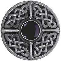 Notting Hill NHK-158-AP-O, Celtic Jewel Knob in Antique Pewter/Onyx Natural Stone, Jewel