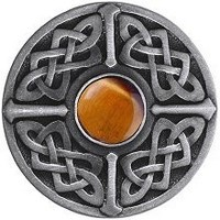 Notting Hill NHK-158-AP-TE, Celtic Jewel Knob in Antique Pewter/Tiger Eye Natural Stone, Jewel
