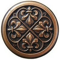 Notting Hill NHK-160-AC, Fleur-de-lis Knob in Antique Copper, Olde World
