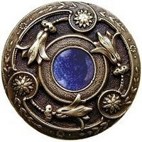 Notting Hill NHK-161-AB-BS, Jeweled Lily Knob in Antique Brass/Blue Sodalite Natural Stone, Jewel