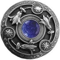 Notting Hill NHK-161-AP-BS, Jeweled Lily Knob in Antique Pewter/Blue Sodalite Natural Stone, Jewel