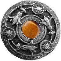 Notting Hill NHK-161-AP-TE, Jeweled Lily Knob in Antique Pewter/Tiger Eye Natural Stone, Jewel