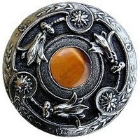 Notting Hill NHK-161-BN-TE, Jeweled Lily Knob in Brite Nickel/Tiger Eye Natural Stone, Jewel