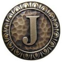 Notting Hill NHK-189-AB, Initial J Knob in Antique Brass, Jewel