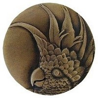 Notting Hill NHK-327-AB-R, Cockatoo Knob in Antique Brass (Large - Right Side), Tropical