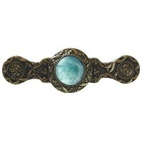 Notting Hill NHP-624-BB-GA, Victorian Jewel Pull in Brite Brass/Green Aventurine, Jewel