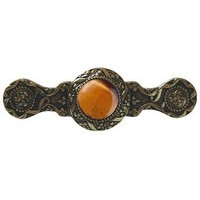 Notting Hill NHP-624-BB-TE, Victorian Jewel Pull in Brite Brass/Tiger Eye, Jewel