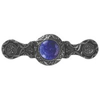 Notting Hill NHP-624-BN-BS, Victorian Jewel Pull in Brite Nickel/Blue Sodalite, Jewel