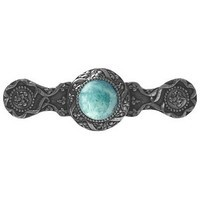 Notting Hill NHP-624-BN-GA, Victorian Jewel Pull in Brite Nickel/Green Aventurine, Jewel