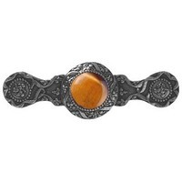 Notting Hill NHP-624-BN-TE, Victorian Jewel Pull in Brite Nickel/Tiger Eye, Jewel