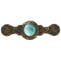 Notting Hill NHP-624-G-GA, Victorian Jewel Pull in 24K Gold/Green Aventurine, Jewel
