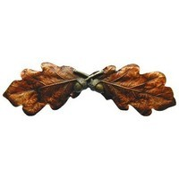 Notting Hill NHP-644-BHT, Oak Leaf Pull in Hand-Tinted Brass, Leaves