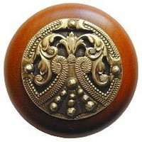 Notting Hill NHW-701C-AB, Regal Crest Wood Knob in Antique Brass /Cherry Wood, Olde World