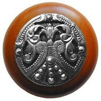 Notting Hill NHW-701C-BP, Regal Crest Knob in Brilliant Pewter /Cherry Wood, Olde World