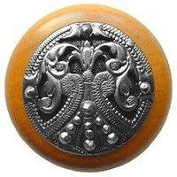 Notting Hill NHW-701M-BP, Regal Crest Knob in Brilliant Pewter /Maple Wood, Olde World