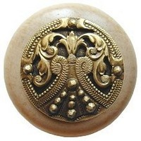 Notting Hill NHW-701N-AB, Regal Crest Wood Knob in Antique Brass/Natural Wood, Olde World