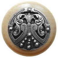 Notting Hill NHW-701N-AP, Regal Crest Wood Knob in Antique Pewter/Natural Wood, Olde World
