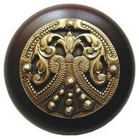 Notting Hill NHW-701W-AB, Regal Crest Wood Knob in Antique Brass /Dark Walnut Wood, Olde World