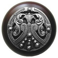 Notting Hill NHW-701W-AP, Regal Crest Wood Knob in Antique Pewter/Dark Walnut Wood, Olde World