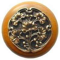 Notting Hill NHW-702M-AB, Gingko Berry Wood Knob in Antique Brass /Maple Wood, Leaves